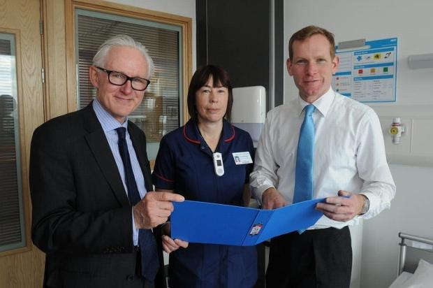 Health Minister Norman Lamb, Jeremy Browne and Musgrove's assistant director of nursing Amanda Morgan admire the facilities in the new surgical building.