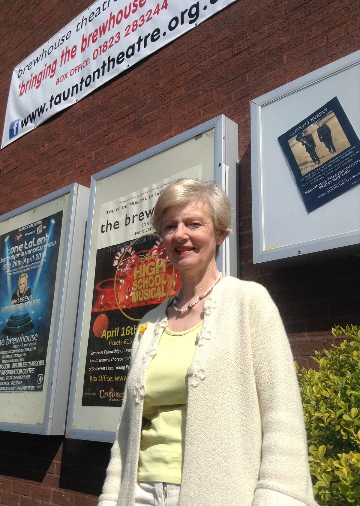 Val Hammond outside the Brewhouse Theatre in Taunton.