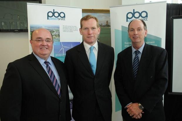 Andrew Cumpsty, director of external affairs at Peter Brett Associates, with Jeremy Browne MP and Richard Swinden, partner at Peter Brett.