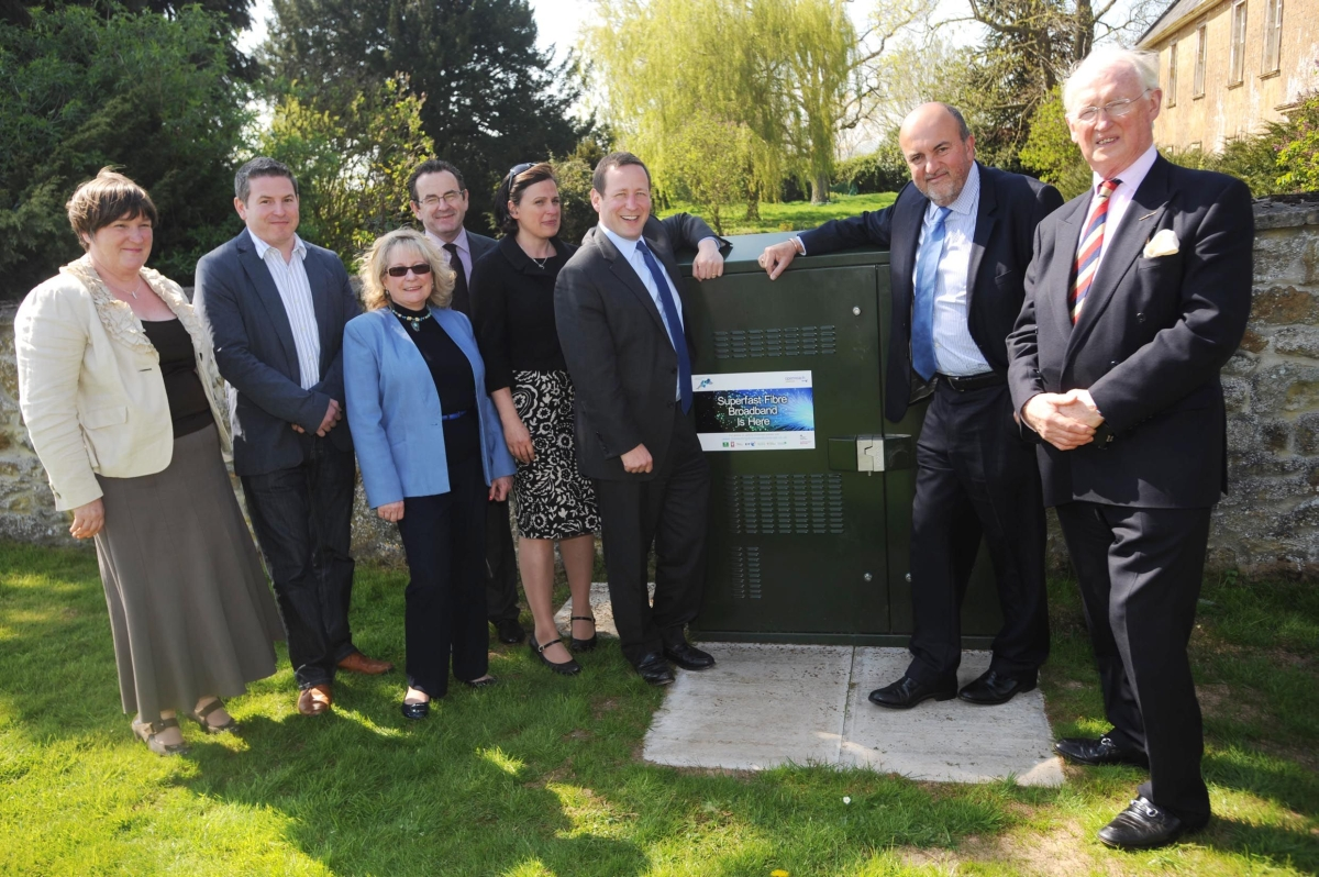 Ministers atHorton Cross during superfast broadband visit