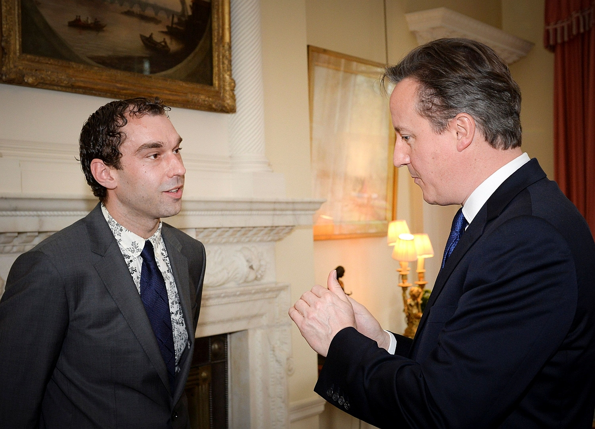 Paul Blackmore is thanked by Prime Minister David Cameron.