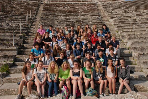 Students are pictured at the theatre in Epidauros. PHOTO: David Elkington