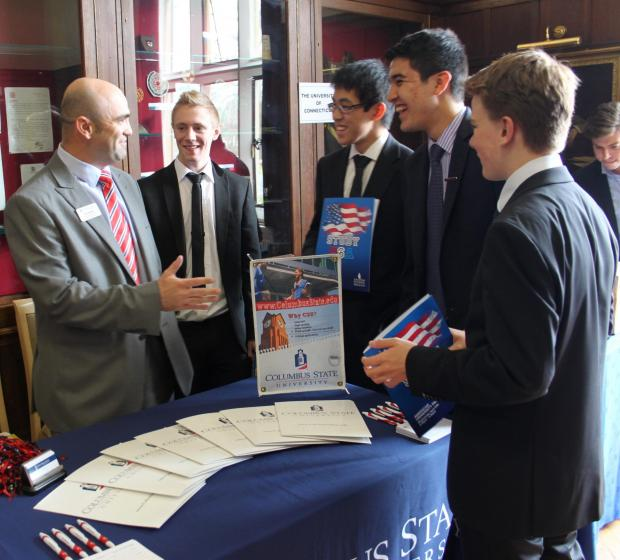 PICTURED at last year's fair are Mat Edmunds, from Columbus State University, with Taunton School students Simon Walker, Mickey Li, Juan Luquin and Yves Remmler.