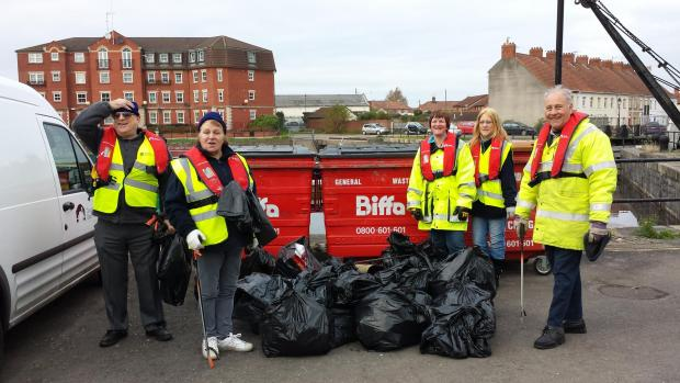 VOLUNTEERS who took part in a litter pick at Bridgwater Docks last November.