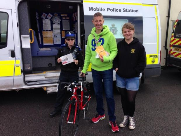 PCSOs Sarah and Pauline offer bicycle security marking at the Burnham Triathlon. Photo: AS Police.