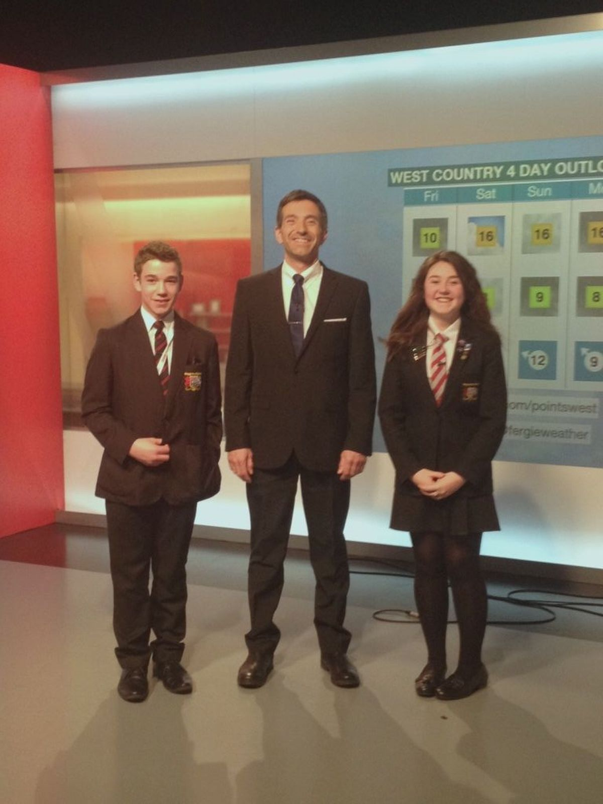 Haygrove students Ben Marchent-Saunders and Francesca Smith with BBC Somerset regional broadcast coordinator Matthew Pick