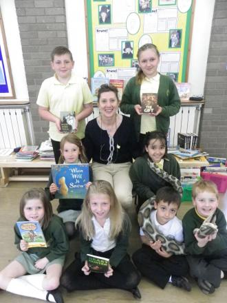 Kathryn White with pupils from Bishops Lydeard Primary School