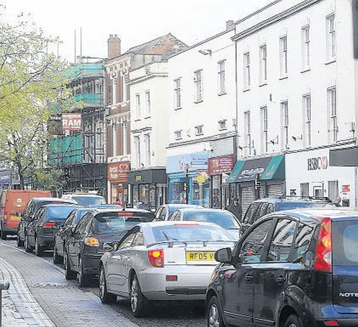 Traffic in Taunton town centre.