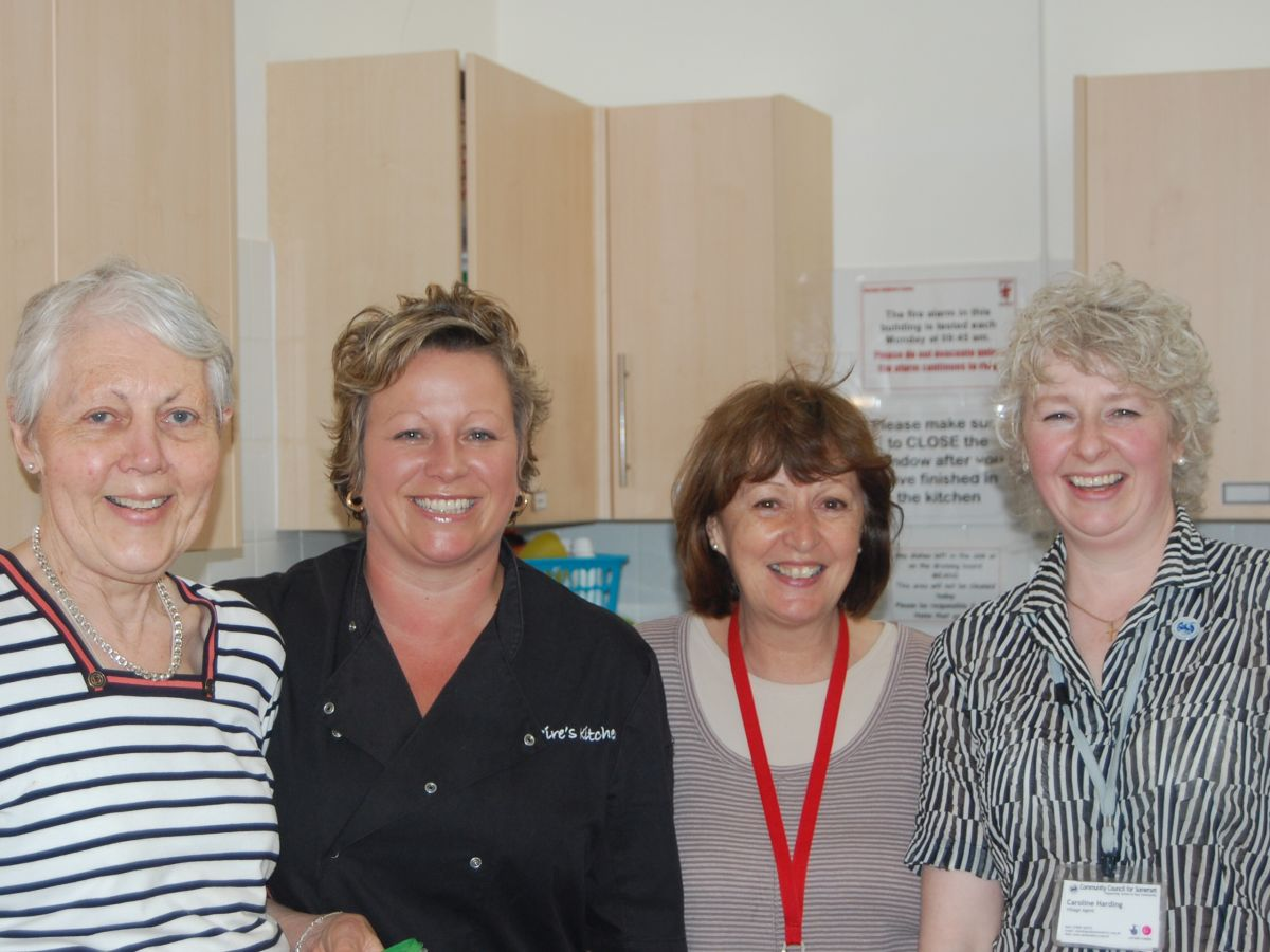 CHRISTINE Payne from the West Somerset Food Cupboard, Claire Lynch from Claire's Kitchen, Jan Hoare from Alcombe Children's Centre and Caroline Harding, the Somerset Village agent. PHOTO: Submitted.