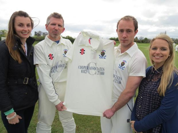 Showing off Taunton CC's 2014 playing shirts, are (from left), Siobhan Fouracre, of Cooper Associates, Jon Kerslake, Jack Cooper, and Kate Denslow, an executive at Cooper Associates.