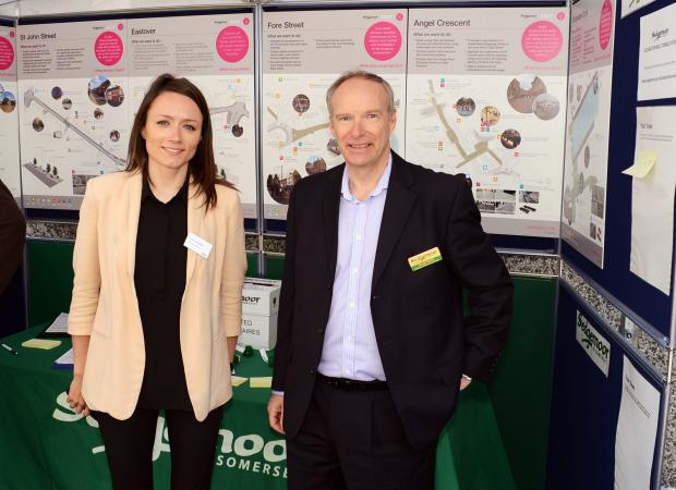 Esther Kilner, landscape architect for ARUP and Steve Harris, senior economic development officer for SDC at the consultation stand in Eastover.