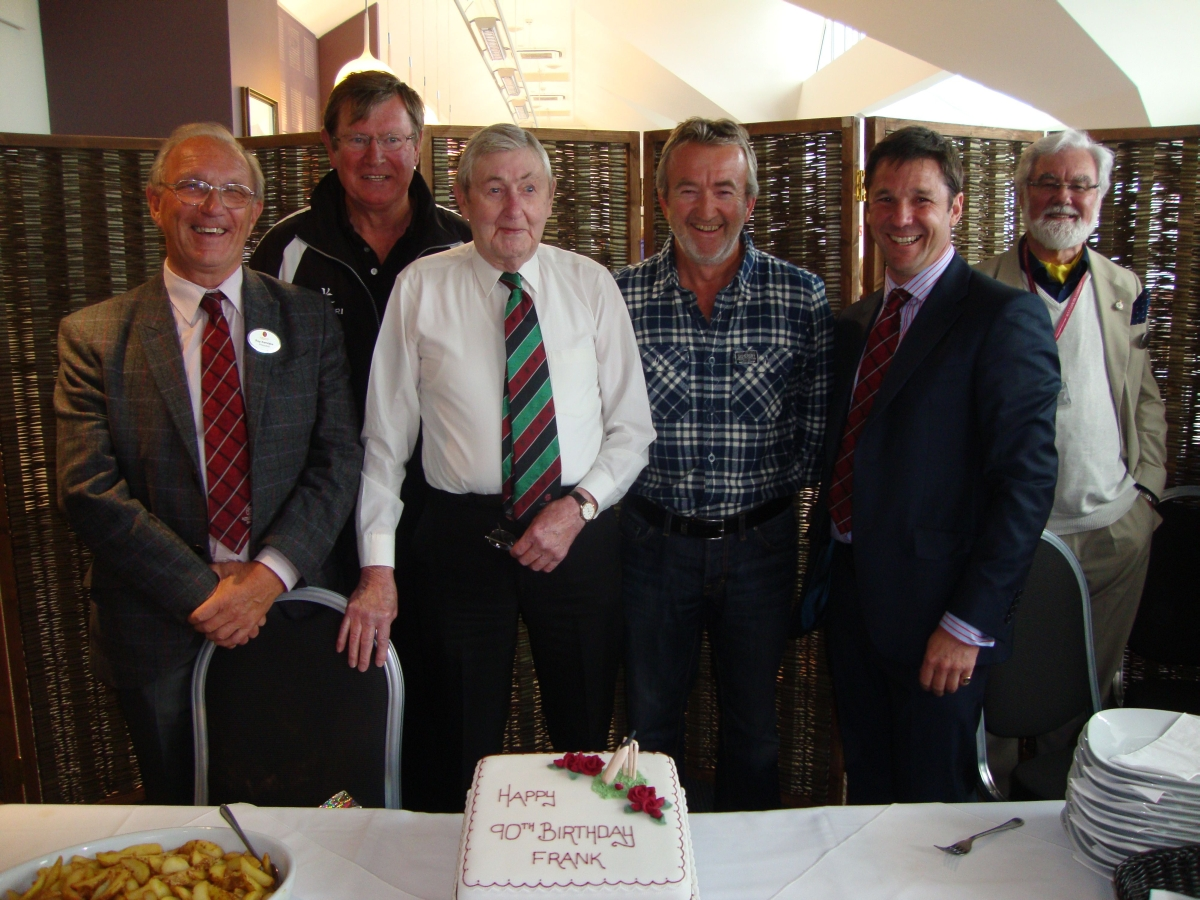 Frank, centre, as the cricket club celebrate his 90th birthday.
