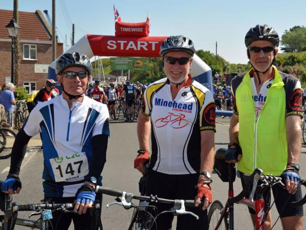 This is The West Country: FRED Hagan, Bob Rivett and Chris Adams from the Minehead Cycling Club.  PHOTO: Somerset Photo News.