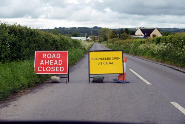 Road closure traps lorries