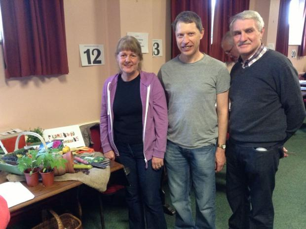JO and Dave Foster and Mel Evans of Puriton Allotments were amongst the lucky groups to get a grant