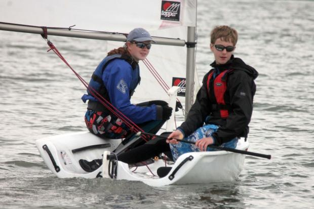 EXPLORERS Alice Martin and Jack Shattock practise their sailing skills. PHOTO: Submitted.