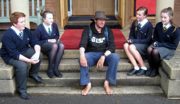 This is The West Country: BAREFOOT poet Philip Wells, centre, joins students from left to right: Alfie Martin, Hattie Bohun, Cerys Rimmer and Becky Webb. PHOTO: Submitted.