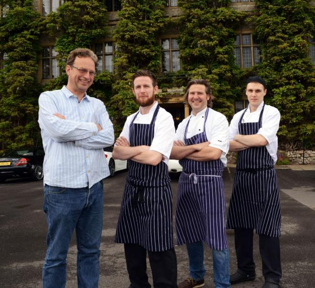 ORGANISER Giles Adams, with chefs Liam Finnegan, Richard Guest, and Sam Burfield outside The Castle Hotel.