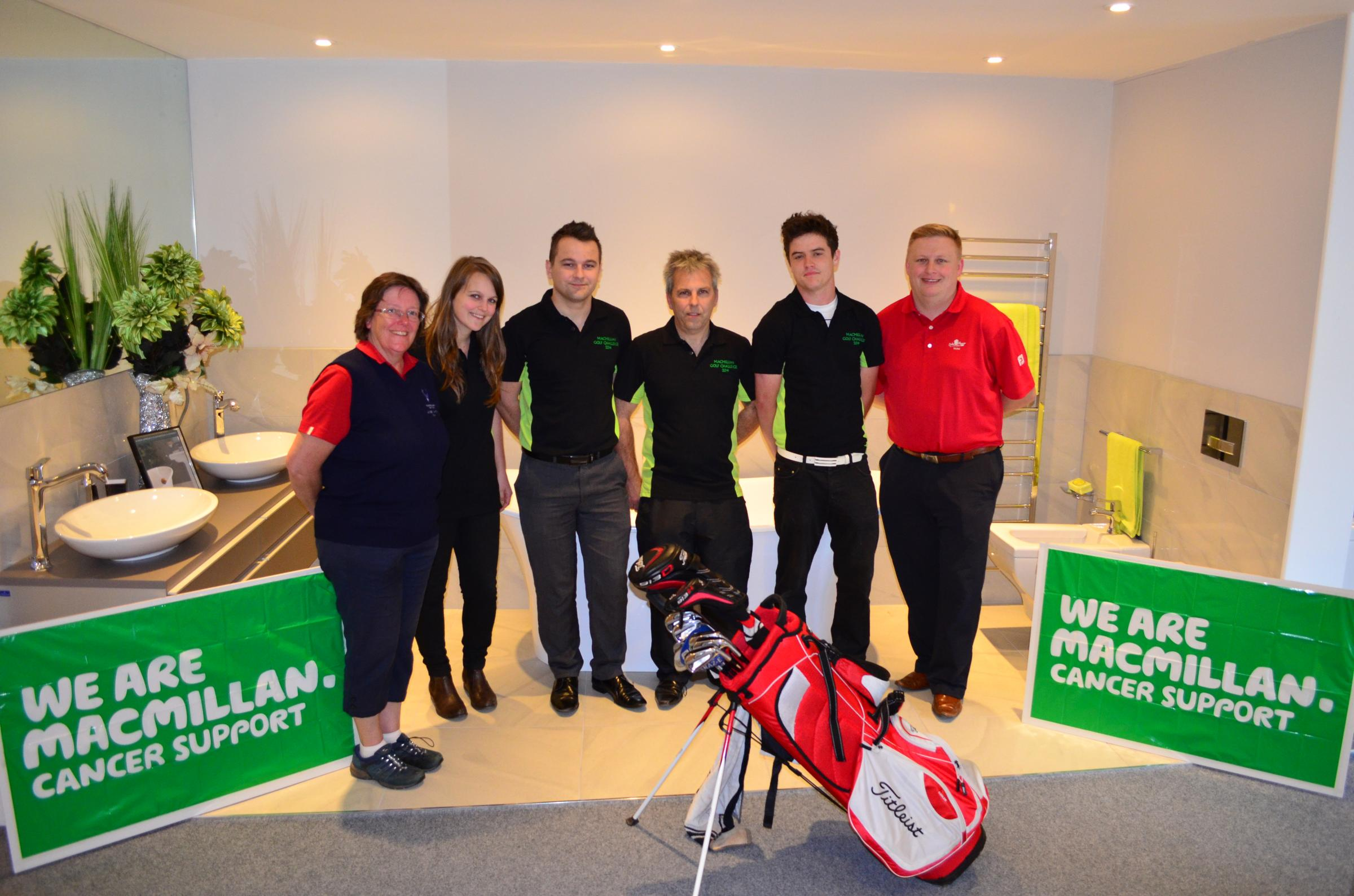 Judith Sperring, Enmore's Lady Captain, Shannon Neal, Daniel Neal, Paul Neal, Jacob Eyres and Oake Manor's Pro, Ja