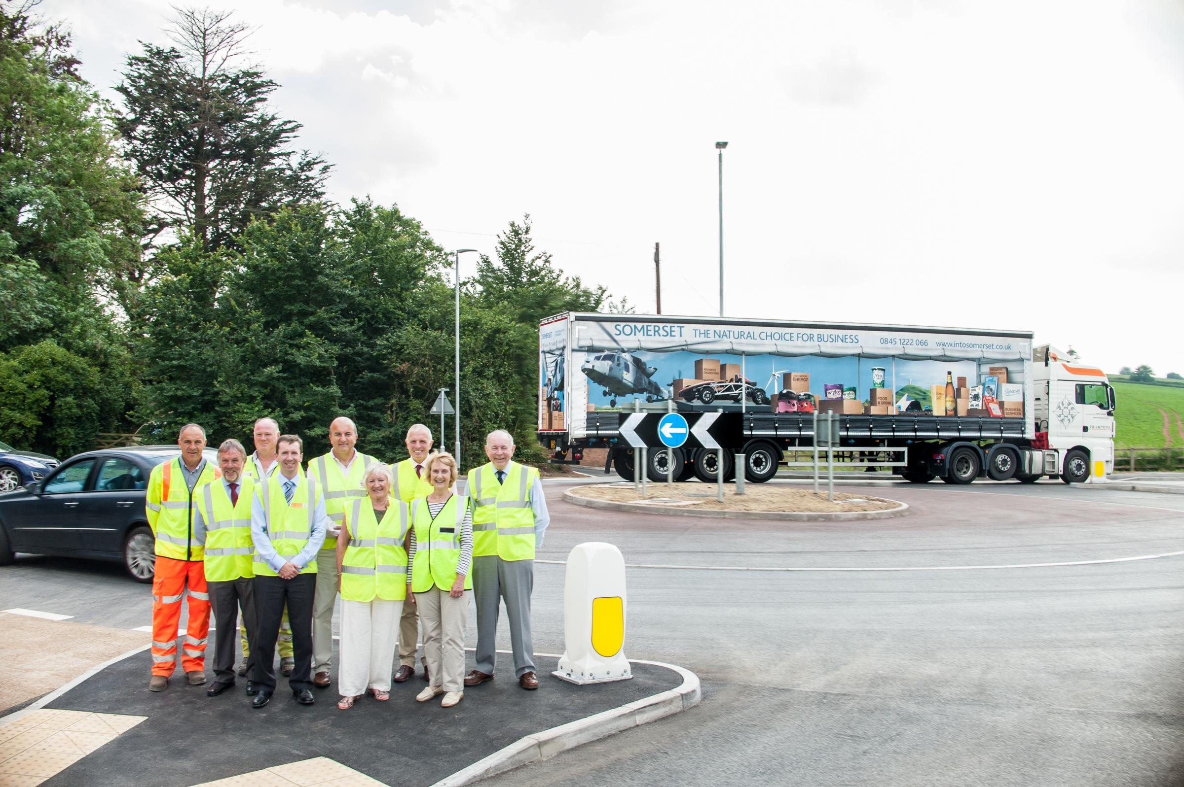 The official opening of the Sandford Hill Corner roundabout. Photo: submitted.