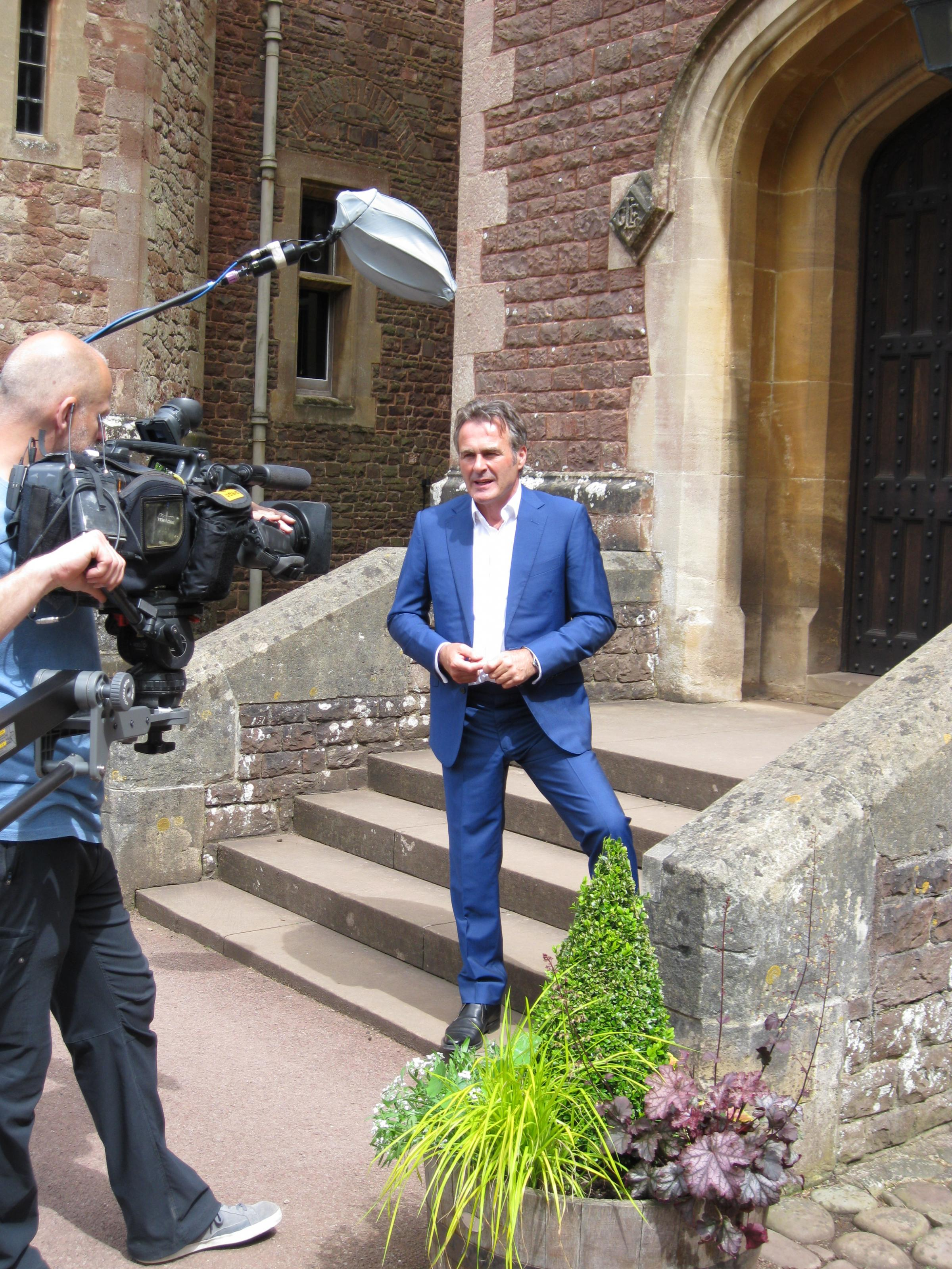 BBC Flog It's! presenter Paul Martin filming on location at Dunster Castle. PHOTO: Stephen Hayes.