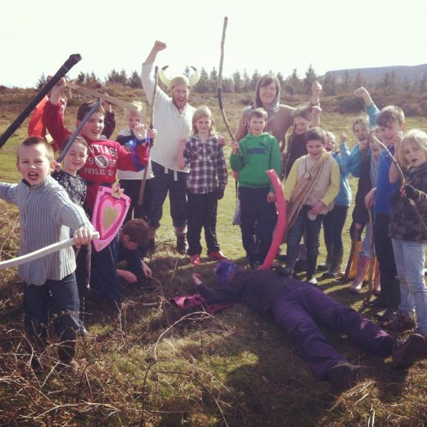 This is The West Country: PUPILS stand victorious in battle after beating the native British patrollers.