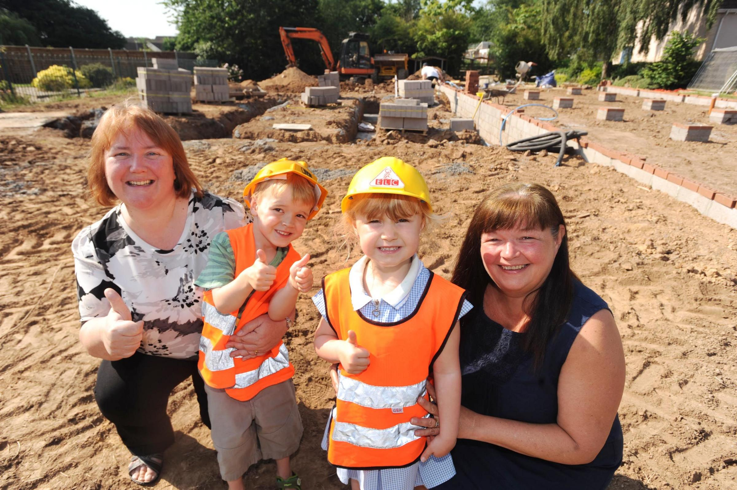 HARD HAT AREA: from left are Diane Donald, Alfie Caddy, Leah Lane and Sharon Lawrence.