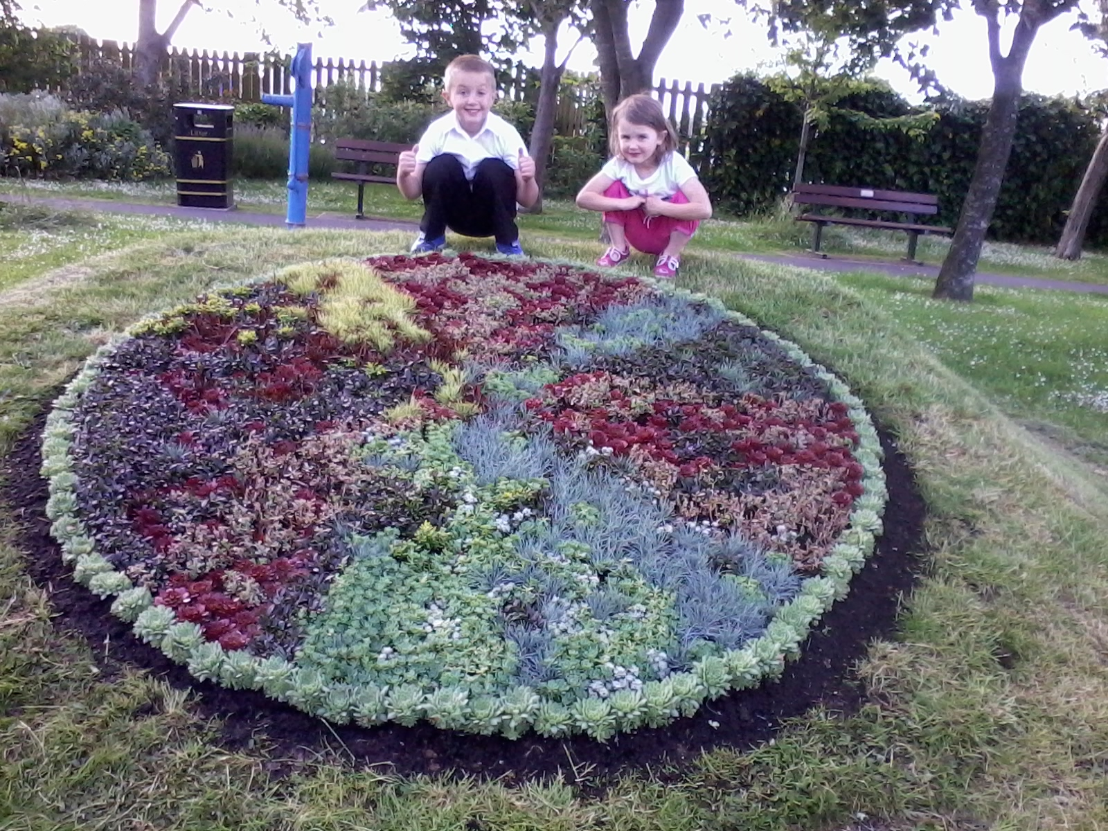 Ewan Lyes, aged six, and his sister Shelby, aged four, with the winning design.