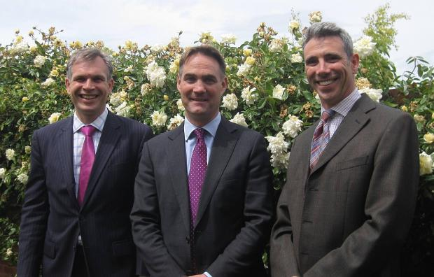 Current headmaster Martin Reader, left, joins Henry Price, who will replace him in September, and junior school head Adam Gibson, right.