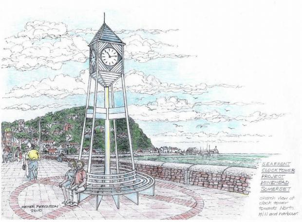 THE original design for the clock tower – the one planned now will be smaller and less elaborate. Artist's impression: Peter Ferguson.