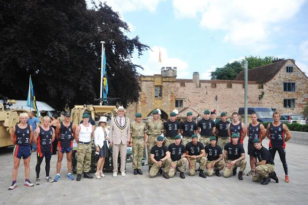 Mayor Dave Durdan and Mayoress Renee with Royal Marines.