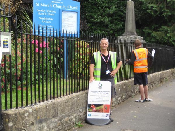 Some of the offenders in action at St Mary's Church