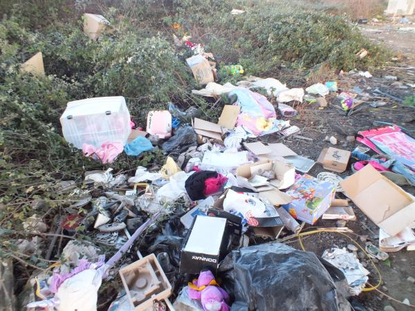 BLIGHT on the landscape: This disgraceful mess was deposited by fly-tippers on land at Huntworth.