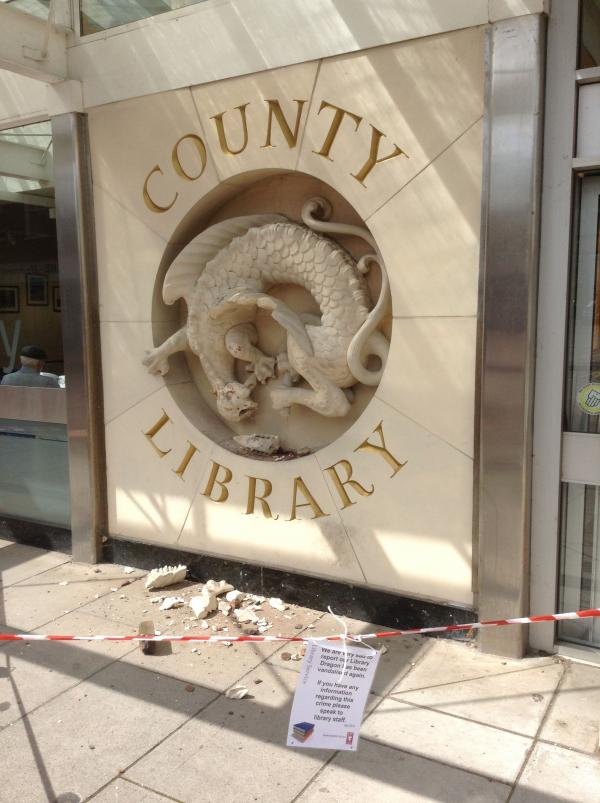 Taunton Library dragon vandalised again