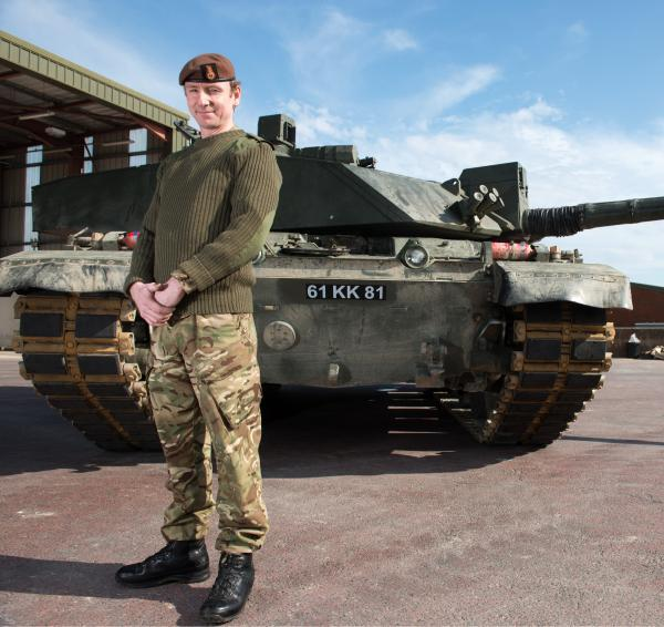 Kris on a fast track as Troop Leader on Challenger two tanks