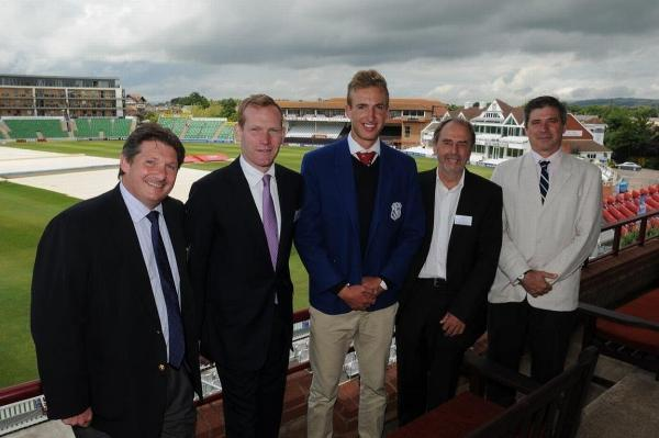Jeremy Browne MP with Justin Chippendale, headmaster of King's Hall, King's cricket captain Neil Brand, Colin Johnson, partnership director, and Richard Biggs, King's headmaster.
