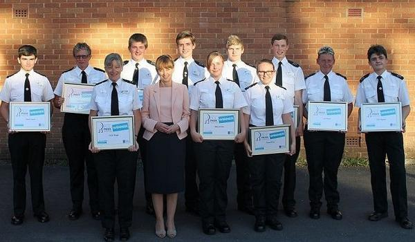 PCC Sue Mountstevens with the cadets.