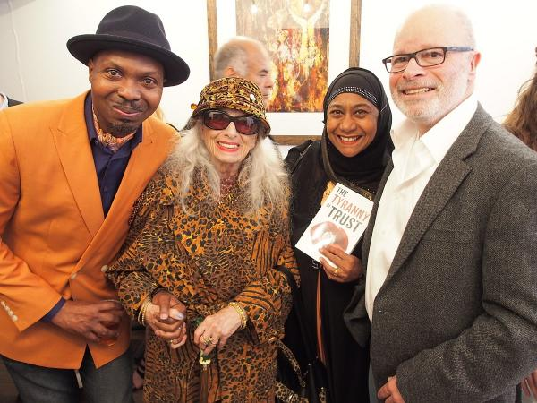 Neil Gevisser, right, at the launch of his book with, from left, Lanre Olagoke, mother Zena Zulman and fan Sophie Cavallucciomarino.