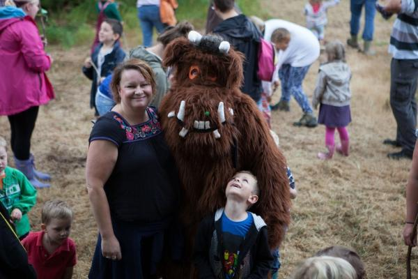 This is The West Country: JUSTINE Baker is pictured with the Gruffalo at Woodland Play Centre.