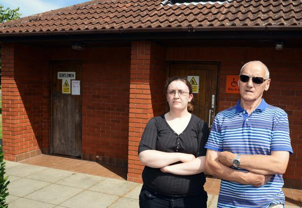NORTH Petherton Community Centre's booking secretary, Nicola Hesketh, and facilities manager, Brian Turner, by the public toilets which have been closed after vandals started a fire.