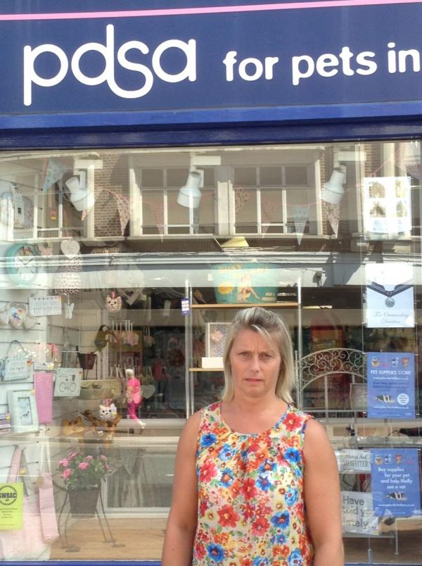 DISAPPOINTED – shop manager Sue Monnelly outside the PDSA North Street shop, Taunton