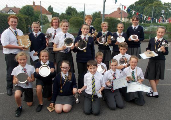 PUPILS celebrate their school year success.