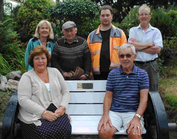 Penny and Paul Hodge, seated, with Friends of Penmere Station members Phyllis Lloyd, Brian Philpotts, Karl Hewlett and Steve Lloyd.