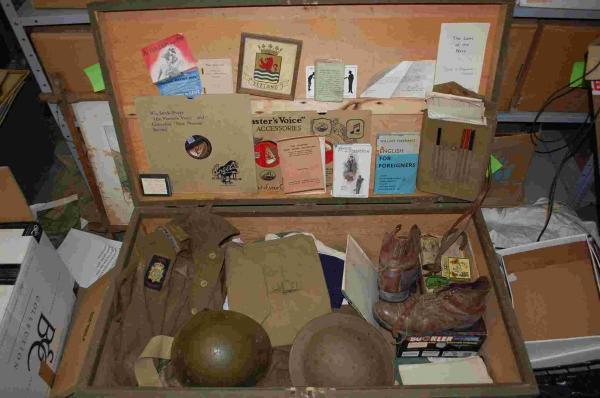 A trunk full of belongings from a Second World War Dutch marine, from the time the house was used to station troops