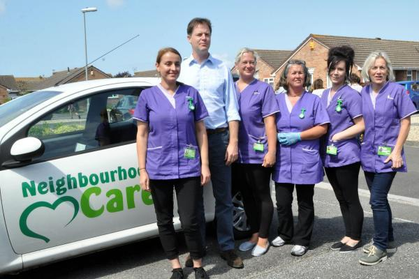 Photo by Mike Lang - NICK Clegg with staff from Neighbourhood Care.