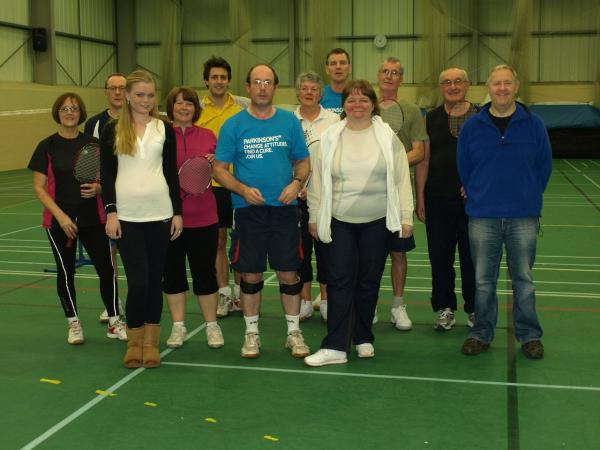 EDDIE Lucas with family and friends at last year's badminton challenge.