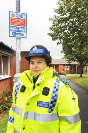 PCSO Sam Piers at Willis Court spreading the message.