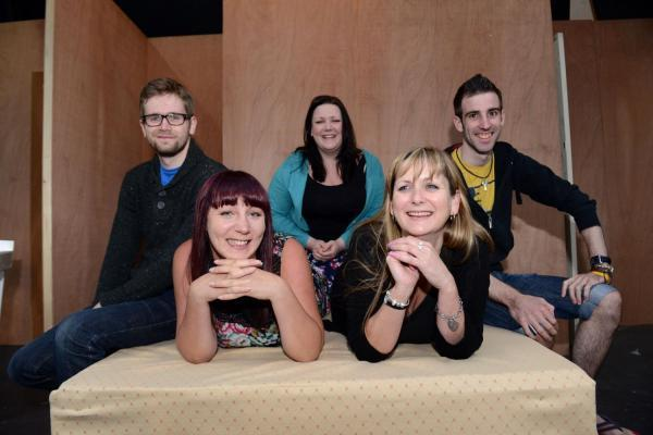 DRAMATISTS Adam Sherman, Bethany Swan, Christina Green, Charlie Hughes and Richard Matravers are busily rehearsing for Bedroom Farce at Wellington Arts Centre.