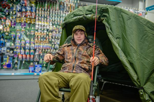 HARRY Bartlett in his fishing gear at GO Outdoors, Taunton.