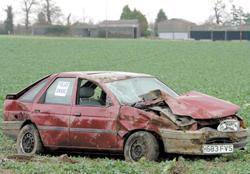 This is The West Country: Wrecked - a car in a field beside the A120 between Wix and Ramsey. Picture: TERRY WEEDEN (53807-1)